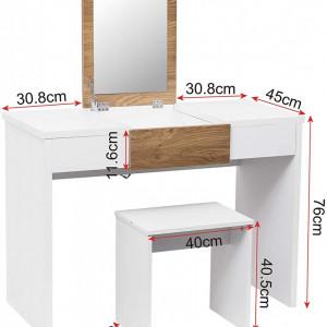 SEA291 - Set Masa toaleta, 100 cm, cosmetica machiaj, oglinda rabatabila , masuta vanity, comoda make-up, scaun - Alb-Maro