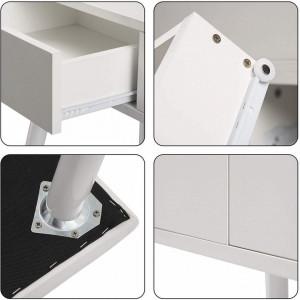 SEA355 - Set Masa toaleta, 80 cm, cosmetica machiaj oglinda cu sau fara LED, masuta vanity - Alb