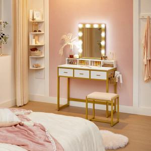 SEA356 - Set Masa toaleta, 90 cm, cosmetica machiaj cu oglinda cu LED si scaun, masuta vanity - Alb-Auriu