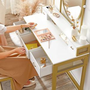 SEA357 - Set Masa toaleta, 90 cm, cosmetica machiaj cu oglinda si scaun, masuta vanity - Alb-Auriu