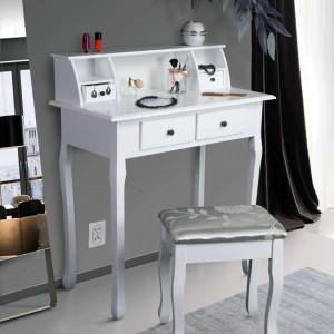 SEA601 - Set Masa toaleta, 80 cm, consola cosmetica machiaj masuta vanity make-up cu raft si scaun tapitat pentru hol - Alb