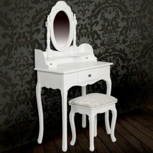SEA702 - Set Masa toaleta, 75 cm, cosmetica machiaj cu oglinda, masuta vanity, scaun tapitat - Alba