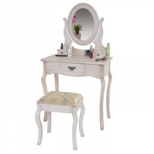SEC9 - Set Masa toaleta alb antichizat/Crem cosmetica machiaj oglinda scaun