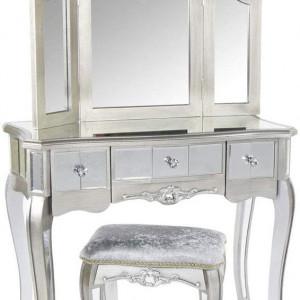 SEG113 - Set Masa Argintie toaleta, 90 cm, cosmetica machiaj oglinda masuta, scaun, taburet tapitat