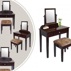 SEM210 - Masa maro toaleta cosmetica machiaj cu oglinda masuta vanity cu oglinda si scaunel tapitat