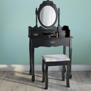 SEN10 - Masuta Neagra toaleta, Scaun, oglinda machiaj cosmetica