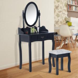 SEN203 - Set Masa neagra toaleta cosmetica machiaj oglinda masuta