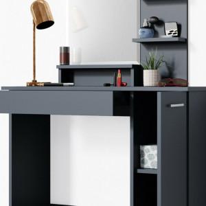 SEN229 - Set Masa toaleta, 90 cm, cosmetica machiaj oglinda cu sau fara LED, masuta vanity, cu sau fara scaunel - Antracit