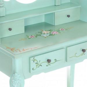 SEV501 - Set Masa verde toaleta cosmetica machiaj oglinda masuta, scaunel taburet tapitat