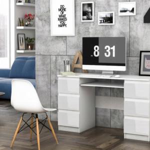 BIA501 - Masa de Birou, office alb cu sertare