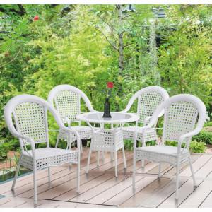 SEGA601 - Set Masa si 4 scaune gradina, terasa, balcon - Alb