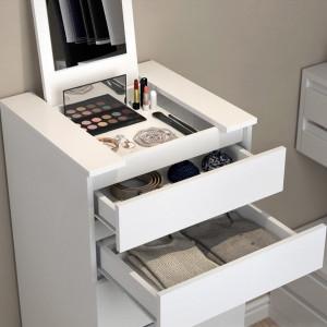 COA212 - Comoda, dulap cu sertare Make Up cu oglinda pliabila, machiaj, cosmetice, toaleta, boudoir - Alb