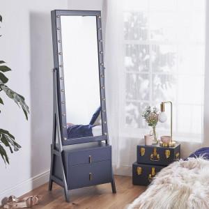 OGAL101 - Oglinda caseta de bijuterii cu LED, dulap, dulapior cu picioare dormitor, dressing - Albastra