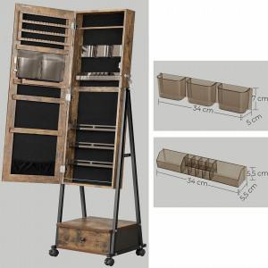 OGI201 - Oglinda caseta de bijuterii, dulap, dulapior cu picioare dormitor, dressing - Maro stil industrial
