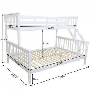 PAAC7 - Pat supraetajat pentru 3 persoane, dormitor copii - 140 x 200 cm - Alb sau Maro