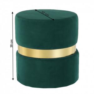 SCAU603 - Scaun tapitat, masa toaleta, taburet machiaj - Auriu-Verde