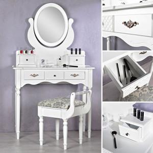 SEA14 - Set Masa alba toaleta cosmetica machiaj oglinda masuta vanity