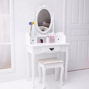 SEA26 - Masuta Alba toaleta, Sertar, Scaun, oglinda machiaj cosmetica