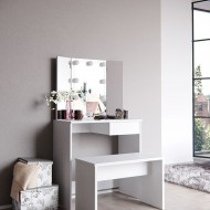 SEA260 - Set Masa alba toaleta cosmetica machiaj oglinda masuta vanity, oglinda cu LED-uri