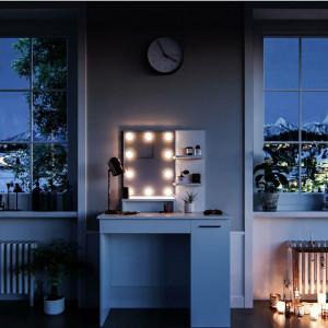 SEA267 - Set Masa alba toaleta 90 cm cosmetica machiaj, oglinda cu LED la alegere, masuta vanity