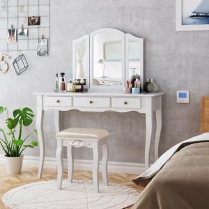 SEA279 - Set Masa alba toaleta, 108 cm, cosmetica machiaj oglinda, masuta vanity, scaunel, taburet tapitat