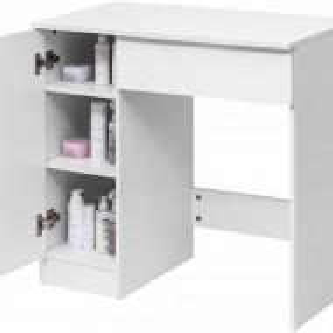 SEA283 - Set Masa alba toaleta, 80 cm, cosmetica machiaj cu oglinda, masuta vanity, scaun - Aba