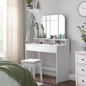 SEA340 - Set Masa alba toaleta moderna, 100 cm, cosmetica machiaj oglinda masuta vanity cu oglinda