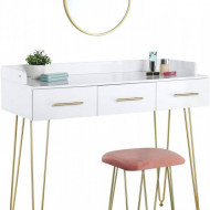 SEA350 - Set Masa toaleta, 100 cm, cosmetica machiaj cu oglinda si scaun, masuta vanity - Alb
