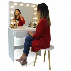 SEA509 - Set Masa toaleta cosmetica 80 cm machiaj masuta vanity, oglinda cu LED-uri - Alb