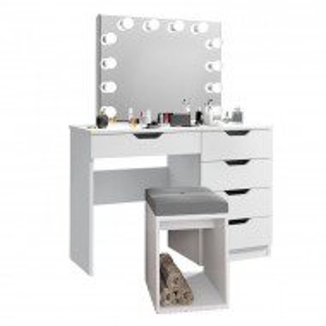 SEA514 - Set Masa toaleta, 110 cm, cosmetica machiaj cu sau fara scaun, masuta vanity, oglinda cu LED-uri - Alb