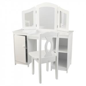 SEAC101 - Set masuta, scaunel, oglinda printese lemn alb Masa, vanity