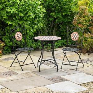SEGM108 - Set Masa si 2 scaune pliante Mozaic gradina, terasa, balcon - Maro