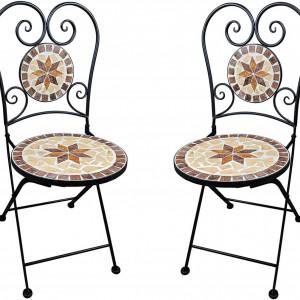 SEGM206 - Set Masa si scaune pliante Mozaic gradina, terasa, balcon - Maro