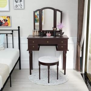 SEM111 - Set Masa toaleta cosmetica 85 cm machiaj masuta vanity, oglinda make-up, cosmetica cu scaun tapitat- Maro