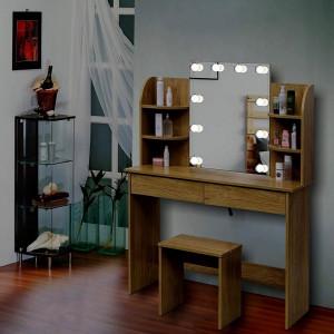SEM214 - Set Masa toaleta 108 cm, cosmetica machiaj oglinda masuta vanity cu oglinda, rafturi si scaun - Maro/Alb/Negru