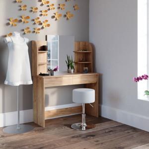 SEM220 - Set Masa toaleta, 108 cm, cosmetica machiaj oglinda cu sau fara LED, masuta vanity, cu sau fara scaunel - Maro