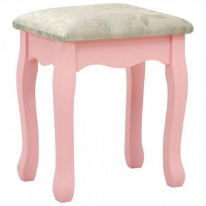 SER2 - Set Masa toaleta, 100 cm, cosmetica machiaj cu oglinda si scaun, masuta vanity - Roz