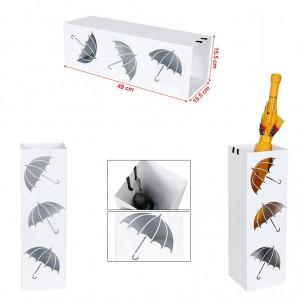 SUA201 - Suport depozitare umbrela patrat, baston pentru hol, metal - Alb