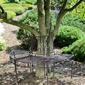 BAG202 - Banca metalica circulara, copac, gradina - Gri