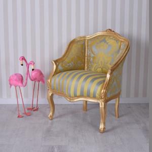 SCAU53 - Scaun, Fotoliu tapitat, mini-divan Baroc - Auriu