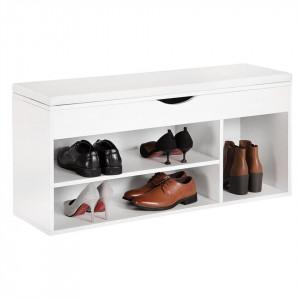 BAA209 - Banca, lada pentru Hol, pantofi, depozitare, patofar - Alba