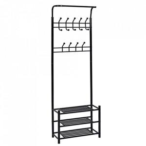 CUII601 - Cuier industrial 66 cm, pentru haine, chei, hol, rafturi pantofi, pantofar metalic - Negru