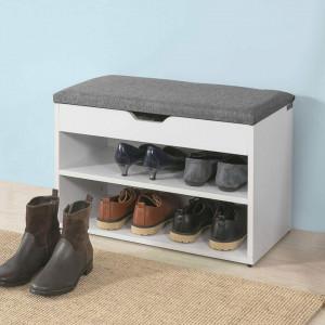 BAA16 - Banca 60 cm, lada pentru Hol, pantofi, depozitare - Alba