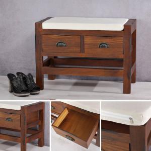 BAM5 - Bancheta, bancuta, hol, dormitor banca lemn vopsit 2 sertare - Maro