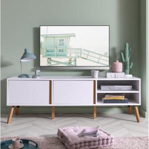COA133 - Comoda alba TV, 150 cm, dulap cu 2 dulapuri pentru living - Marsilia