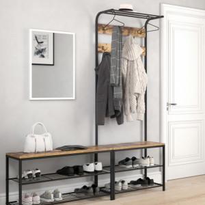 CUII207 - Cuier industrial 70 cm, pentru haine, chei, hol, rafturi pantofi, pantofar - Maro