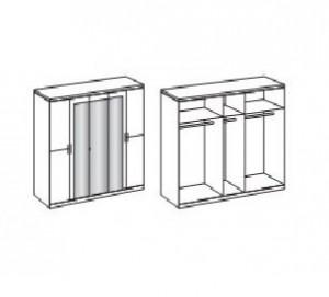DUA114 - Dulap, sifonier cu 5 usi, bara umerase, rafturi si 3 oglinzi, dormitor - Alb