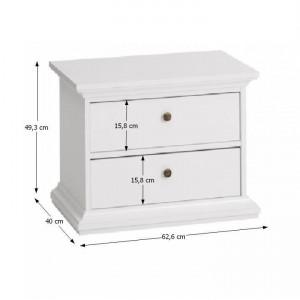 NOA601 - Set 2 Noptiere albe cu 2 sertare pentru dormitor