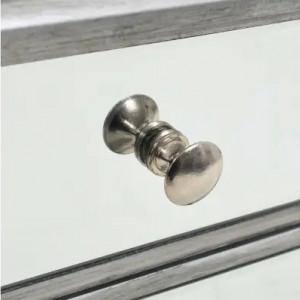 NOG1 - Set 2 Noptiere gri cu oglinda, 34.5 cm, cu 2 sertare