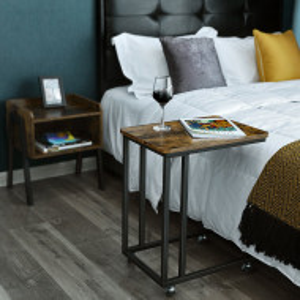 NOI202 - Set 2x noptiere pentru dormitor, industrial - Maro